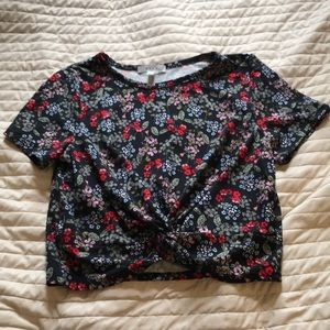 Tied in the Front Navy Floral Shirt